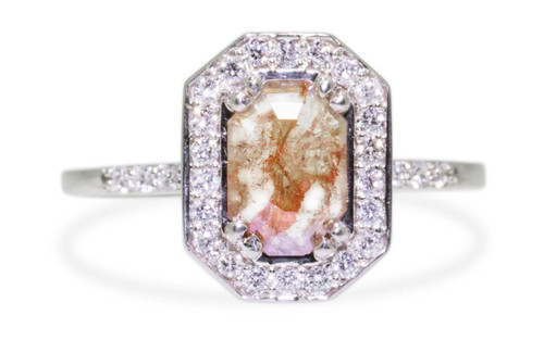 KATLA Ring in White Gold with .60 Carat Peach/Champagne Diamond