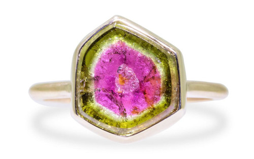 5.7 Carat Watermelon Tourmaline Ring in Yellow Gold