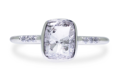 1.18 Carat Salt & Pepper Diamond Ring in White Gold