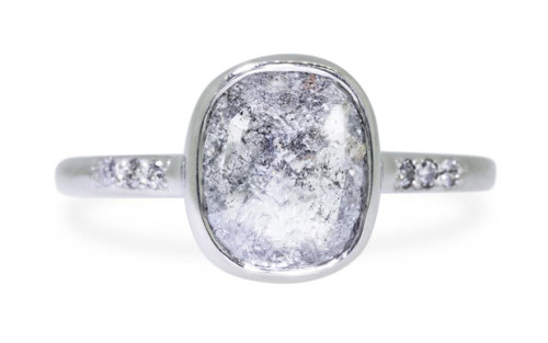 2.28 Carat Salt and Pepper Diamond Ring in White Gold