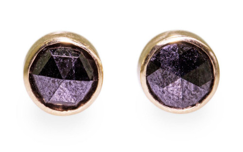 Rose-cut Black Diamond Earrings in Yellow Gold