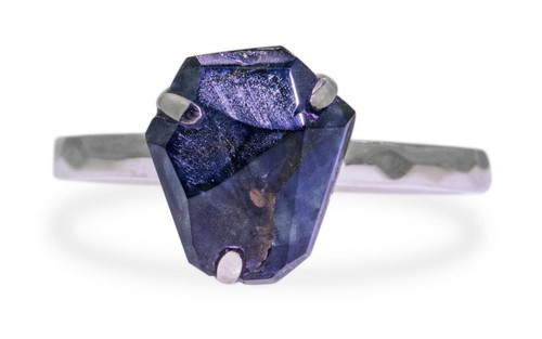 1.79 Carat Hand-Cut Blue Sapphire Ring in White Gold