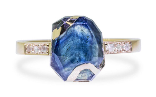 3.3 Carat Hand-Cut Blue Sapphire Ring in Yellow Gold