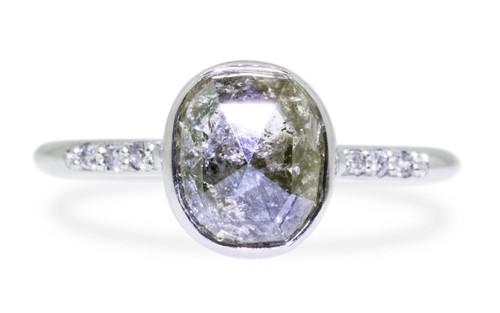 2.56 Carat Salt & Pepper Diamond Ring in White Gold