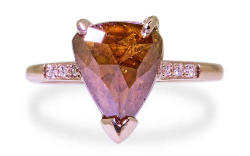 2.66 Carat Fiery Cognac Diamond Ring in Rose Gold