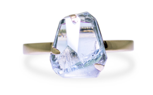 2.83 Carat Hand-Cut Aquamarine Ring in Yellow Gold