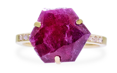 3.63 Carat Hand-Cut Ruby Ring in Yellow Gold