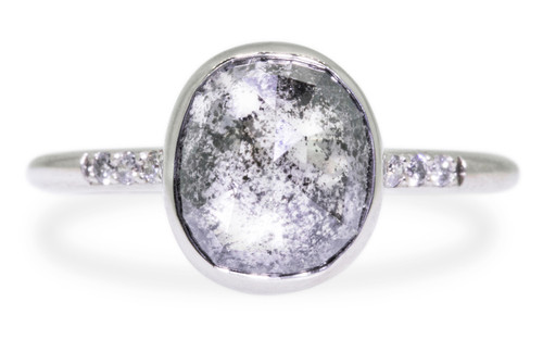3.07 Carat Salt and Pepper Diamond Ring in White Gold