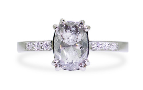 1.63 Carat Translucent Gray Diamond in White Gold