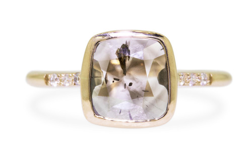 1.17 Carat Smoky Salt and Pepper Diamond Ring in Yellow Gold