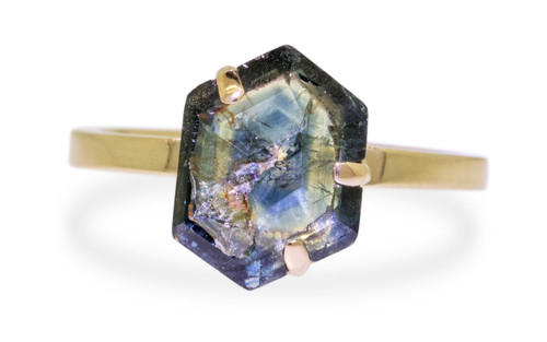 3 Carat Hand-Cut Sapphire Ring in Yellow Gold