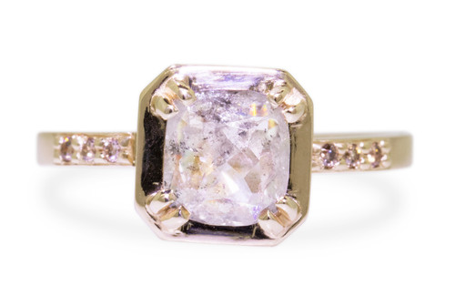 MAROA Ring in Yellow Gold with 1.03 Carat Light Gray Diamond