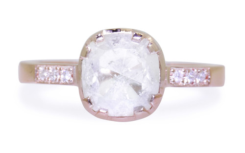 1.55 Carat Rustic White Diamond Ring in Rose Gold
