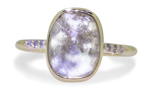 3.19 Carat Gray Diamond Ring in Yellow Gold