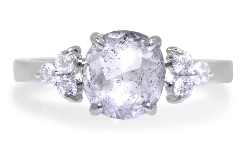 1.67 Carat Glowing Salt and Pepper Diamond Ring in White Gold
