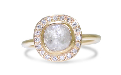 1.59 Carat Light Gray Diamond Ring with Diamond Halo