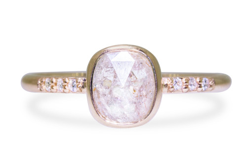 1.27 Carat Rustic White Diamond Ring in Yellow Gold