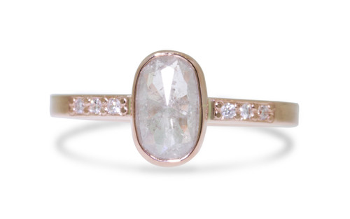 .95 Carat Natural White Diamond Ring in Rose Gold