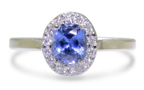 1.11 Carat GIA Ceylon Sapphire Ring with Diamond Halo