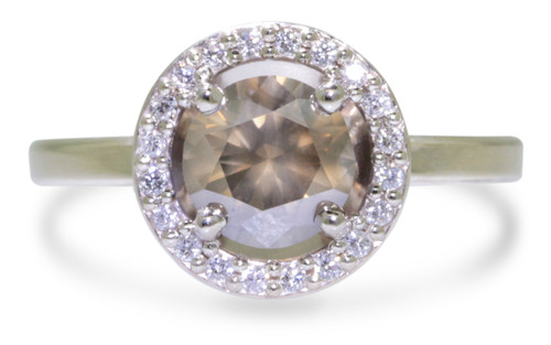 1.09 Carat Smoky Champagne Diamond Ring with Diamond Halo