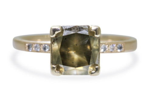 1.82 Carat Earthy Green Diamond Ring in Yellow Gold