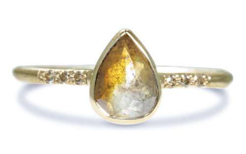 .90 Carat Gray/Rust Diamond Ring in Yellow Gold