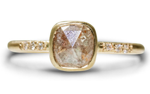 1.70 Carat Gray/Peach Diamond Ring in Yellow Gold
