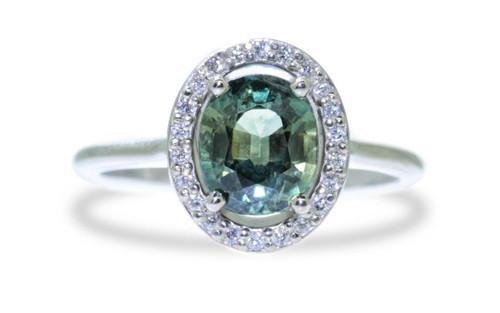 3 Carat Multi-Color Sapphire Ring with White Diamond Halo