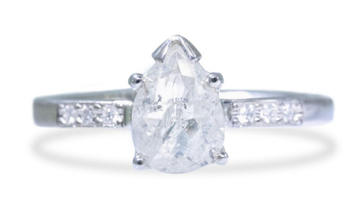 1 Carat Rustic White Diamond Ring in White Gold