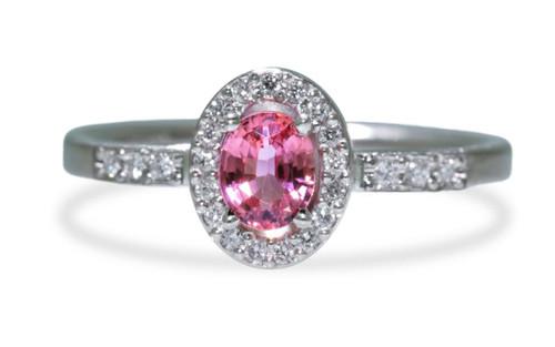 .48 Carat Pink Sapphire Ring with White Diamond Halo