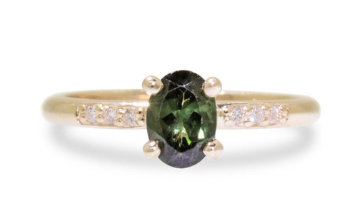 .80 Carat Green Tourmaline Ring in Yellow Gold