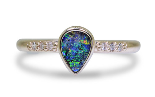 Australian Boulder Opal Ring in Yellow Gold
