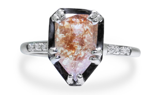 1.60 Carat Peach Diamond Ring in White Gold