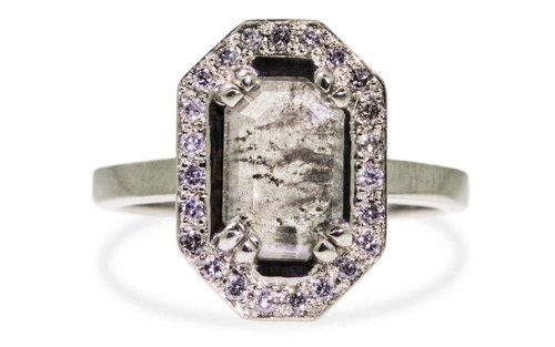 KATLA Ring in White Gold with 1.02 Carat Salt and Pepper Diamond