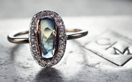 1.3 Carat Sapphire Ring with Diamond Halo