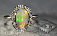 1.41 Carat Opal Ring with Pave Diamonds