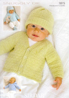 Premature / Baby DK Pattern for Cardigans, Hats, Mittens and Bootees | Sirdar Snuggly DK 1815