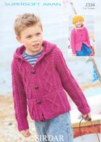 Childrens Cardigan at and Hoodie Aran Pattern | Sirdar Supersoft Aran 2334