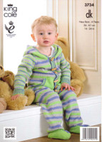 Babies / Childs Onsie with Hood or Hat DK Patterns | King Cole DK 3734