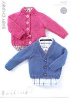 Childrens Simple Cardigans Patterns | Sirdar Hayfield Baby Chunky 4400