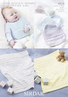 Baby Bib and Blankey Patterns | Sirdar Snuggly Baby Cotton DK 4418