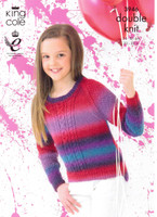 Girls Cabled Sweaters DK Knitting Pattern | King Cole Riot 3946