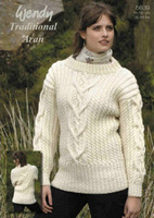 Ladies Cabled Sweater Aran Patterns | Wendy Traditional Aran 5639