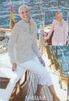Sirdar Cotton Rich Aran Pattern for Cable and Lace Sweaters - 7273