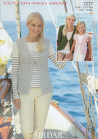 Ladies Waistcoat & Cardigan Aran Patterns | Sirdar Cotton Rich Aran 7277
