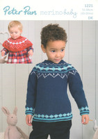 Childrens Fairisle Sweater & Shoulder Warmer Pattern | Peter Pan Merino Baby DK 1221