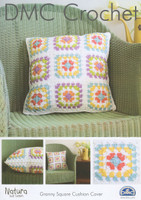 4ply Pattern for Crocheted Granny Square Cushion - DMC Natura