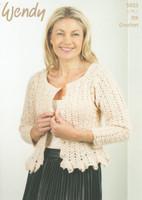Peplum Cardigan Crochet Pattern | Wendy Celeste DK 5925