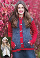 Wendy Pattern 5973 for a Jacket & Gilet in Wendy Eider / Mode Chunky / Merino Chunky - Cover of Pattern