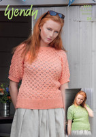 Short Sleeved Lace Tops DK Knitting Patterns |  Wendy Supreme Cotton DK 5979